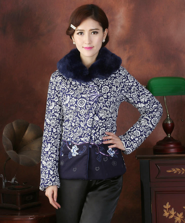 Free Shipping!Chinese Women's Man-Made Mink Hair Collar Embroider Flower Thin Wadded Jacket Outwear M L XL XXL 3XL 4XL WHB2014-3(China (Mainland))