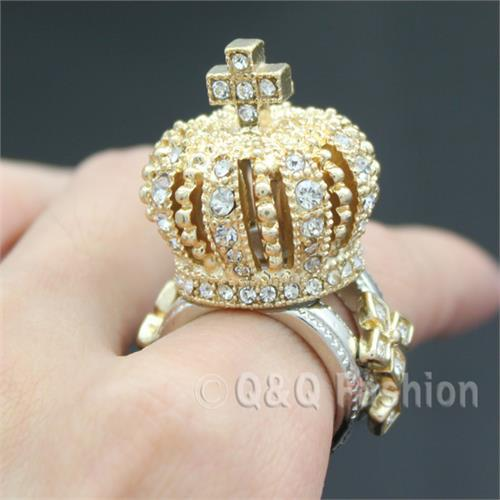 Top King Queen Crown Tiara Cross Finger Ring Gold 3D Crystal Cocktail Chunky Jewelry Free Shipping(China (Mainland))