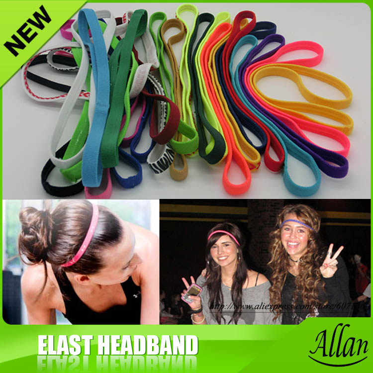 Non-slip Elastic Fashion Sports Adjustable Promotional Headband 30 Colors(China (Mainland))