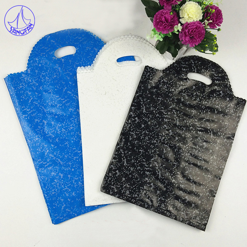 25x40cm Black Large Plastic Shopping Bags With Handle 50pcs Large Thick Clothes Gift Packaging Plastic Bags For Clothes PG#2027(China (Mainland))