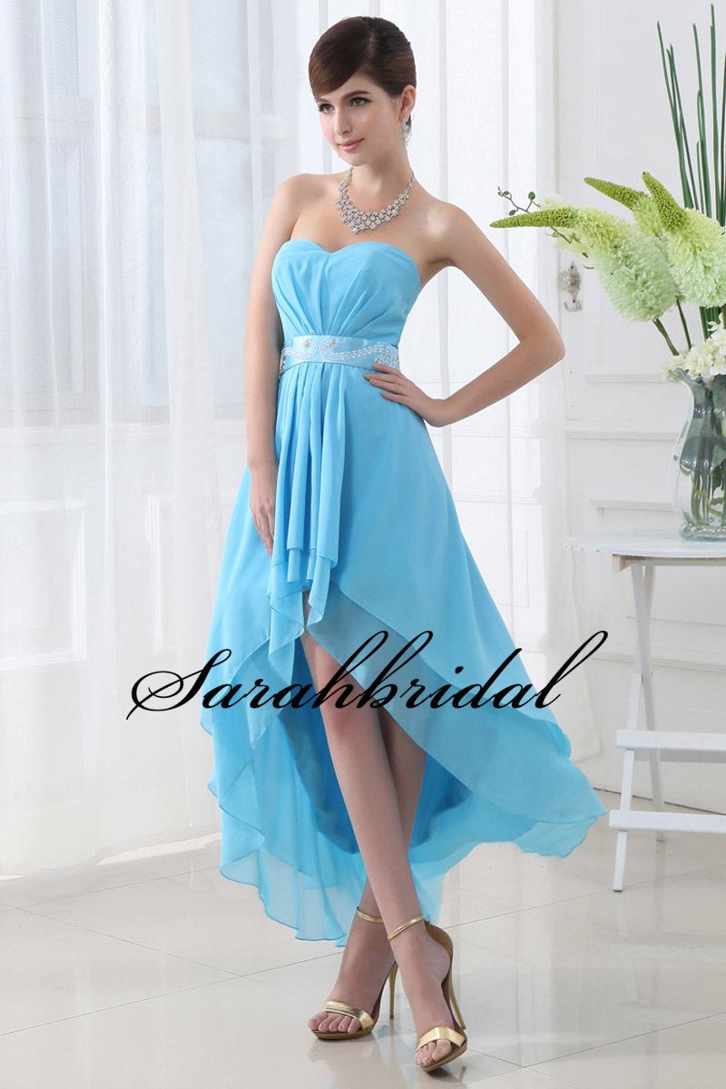 Hot sale hi lo blue chiffon prom dress gradution dress for High low wedding dresses for sale