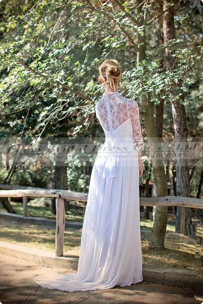 Vestido de noiva renda sexy beach long sleeve bohemian for Hippie dresses for weddings