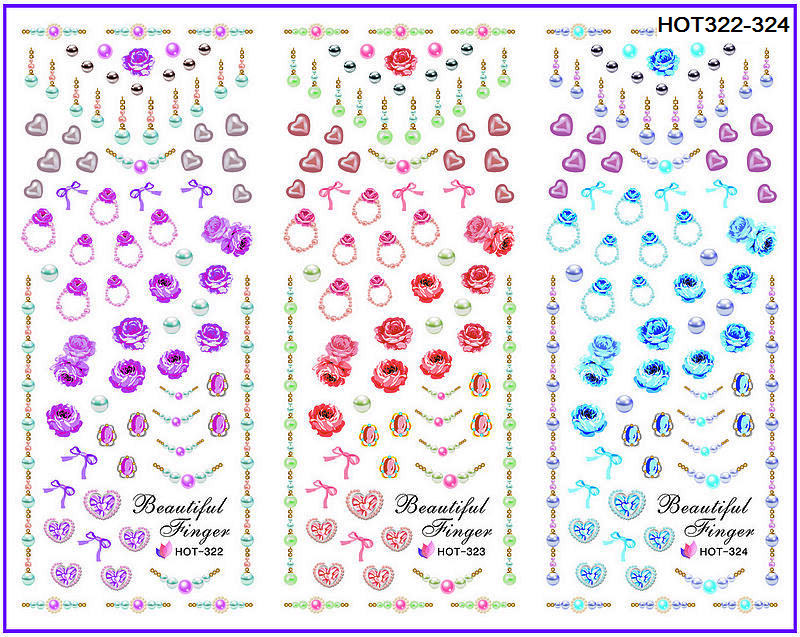 3 PACKS / LOT JEWEL HEART FINGER RING NAIL CROSS TATTOOS STICKER WATER DECAL NAIL ART HOT322-324(China (Mainland))