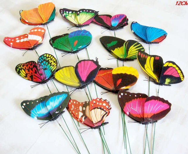new 50PC-12CM  Artificial Butterfly with a wire Wedding Cake Topper Favor!FREE!-wholesale