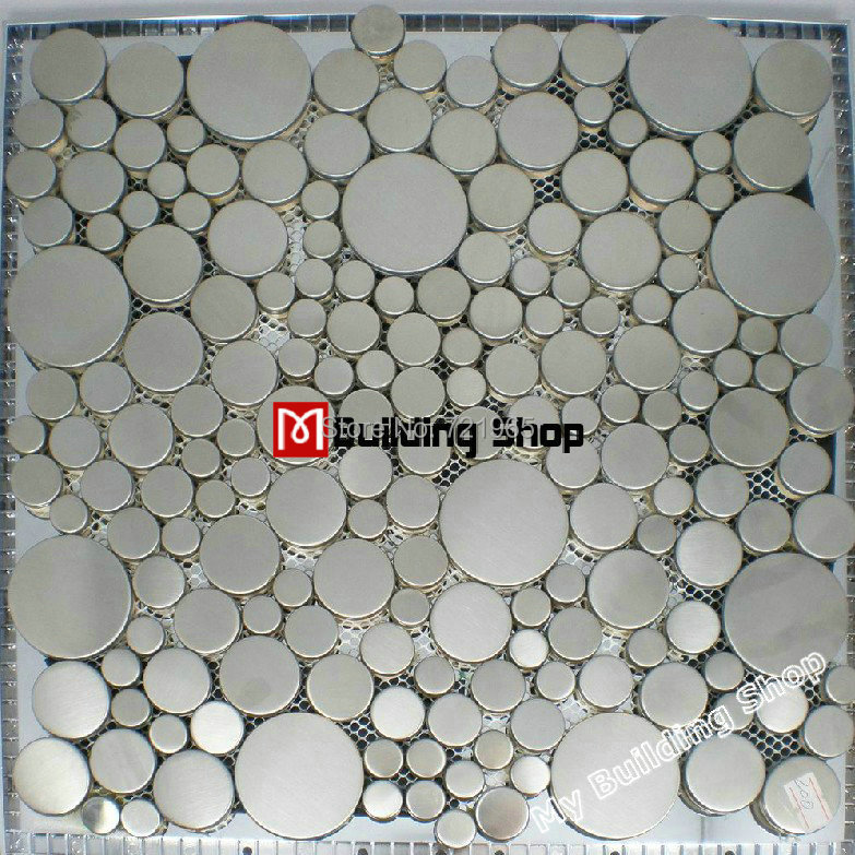 Brushed Silver Metal Mosaic SMMT024 Penny Round Metallic Stainless Steel  Wall Tile Bubble