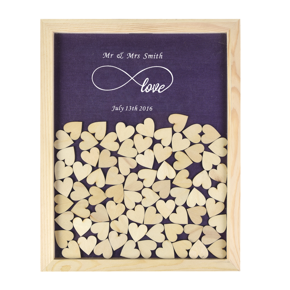 Personalized Multi-Colors Rustic Drop Top Wooden Wedding Guest Book Frame & Customized Hearts & 130 Pcs Hand-Writing Wood Hearts(China (Mainland))