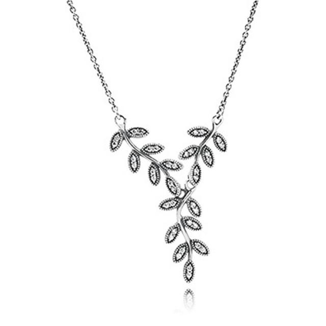 Серебро 925 ювелирных изделий листья колье с цирконий ожерелье цепи 45 см для женщин DIY мода ювелирных изделий