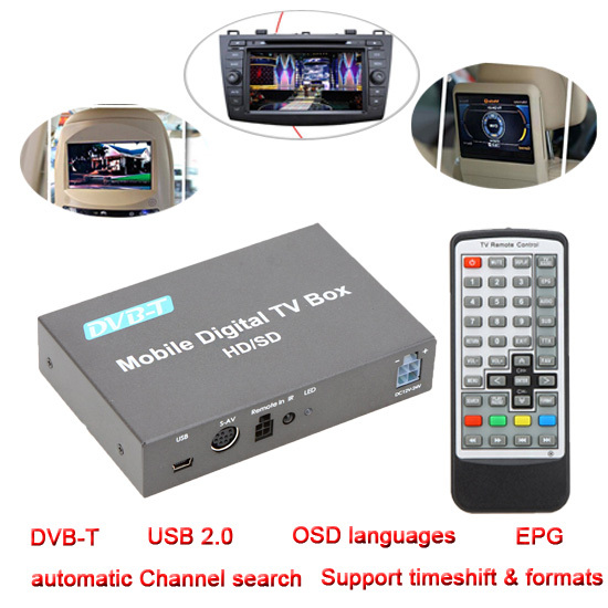 DVB-T Mini Channel Mobile Car Set Top Box Digital TV Box Analog TV Tuner Signal Receiver Twin tuners USB2.0 EPG JPEG Decoder(China (Mainland))