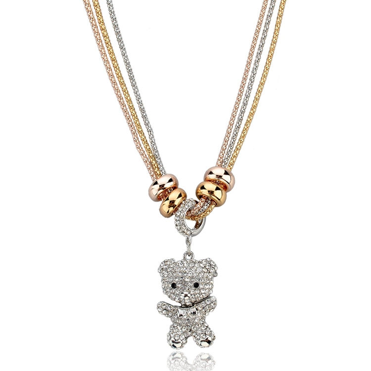 New Style Vintage Rhinestone Necklaces & Pendants Gold/Silver Plated Long Chain Necklace Crystal Bear Pendant Necklace SNE140446(China (Mainland))
