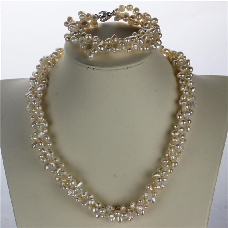 SNH AAA 5-6 мм самородок витая жемчужное Ожерелье/Браслет стерлингового серебра 925 природный выращенный пресной воды жемчуг ювелирные изделия набор