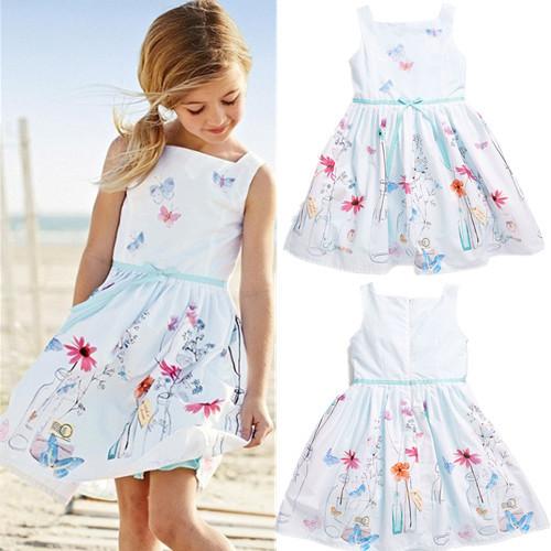 hot girls dress children's clothing white strap dress Students wear fashion pleated dress silk Leisure dress Free Shipping(China (Mainland))