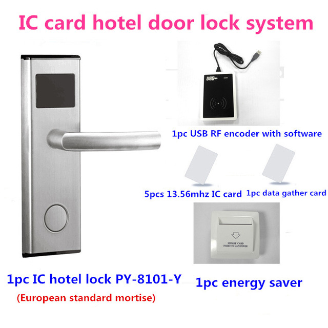 Smart design RF door lock Intelligent IC hotel lock system PY-8101-YKit(lock+card encoder+software+card+energy saver)(China (Mainland))