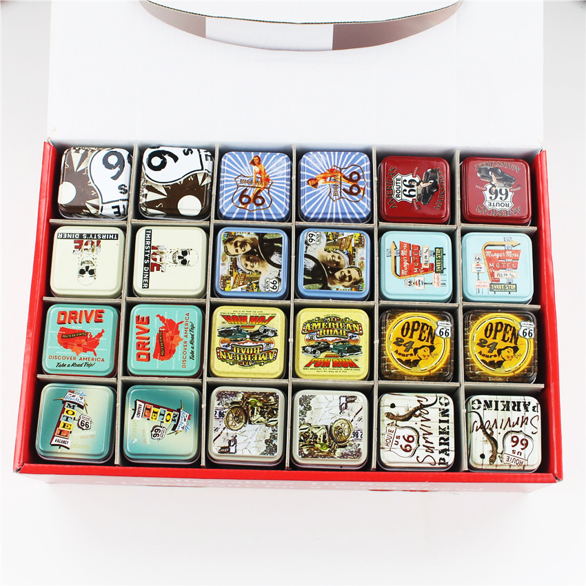 Vinatge Style Tea Caddy Metal Tin Box European Type Candy Coin Pill Storage Case Best Wedding Favor Gift Organizer 24Piece/Lot(China (Mainland))