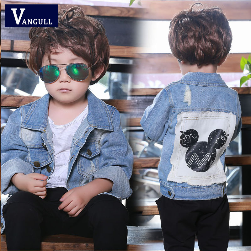 2016 autumn and winter hot boys classic fashion jeans jacket cartoon mouse printing washing children's coat(China (Mainland))