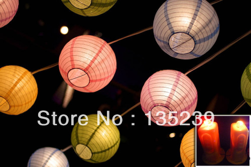 2014 New Blue Large Round Paper Lantern LED Fairy Lights 16 inches 10  Lanterns, for Wedding Party Baby Shower