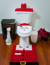 Santa Claus Snowman Toilet Seat Cover and Rug Bathroom Set Contour Rug Three Piece Set(China (Mainland))
