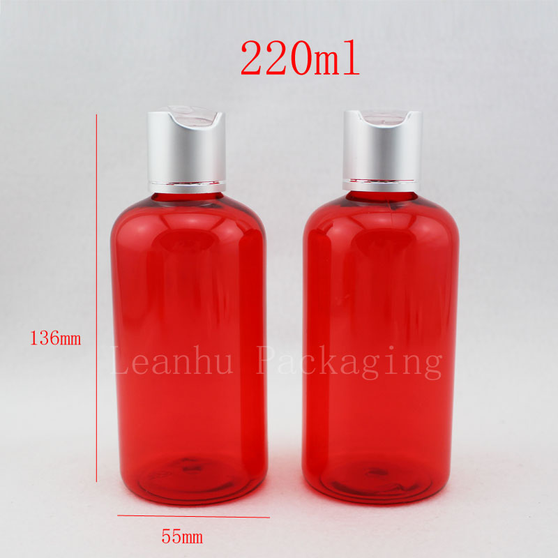 220ml red plastic shampoo lotion bottles with screw cap 220cc empty plastic cosmetic packaging containers essential oil bottle(China (Mainland))
