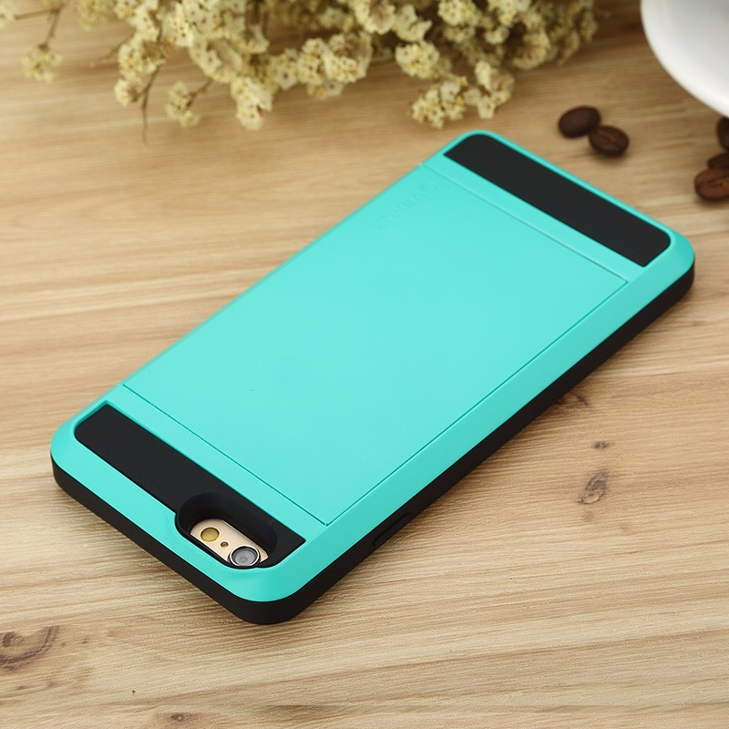 Candy Color Anti-knock Card Slot Armoured Protector 2 in 1 TPU+PC Cover Case for iPhone 5s 6s 6plus Sbr 502 green