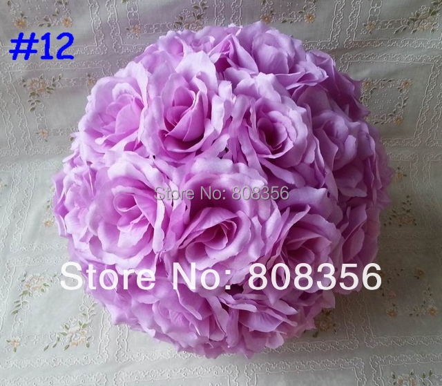 10pcs 30cm Diameter Silk Kissing Balls Rose Flower Ball for Wedding Party Artificial Decorative Flowers 21 Colors Available(China (Mainland))