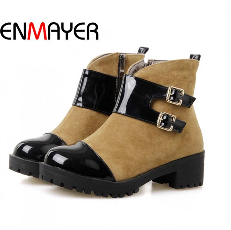ENMAYER Flock + PU Ankle Boots For Women Zip Square heel Fashion Round Toe High Boots New Platform Martin Boots Mixed Colors<br><br>Aliexpress