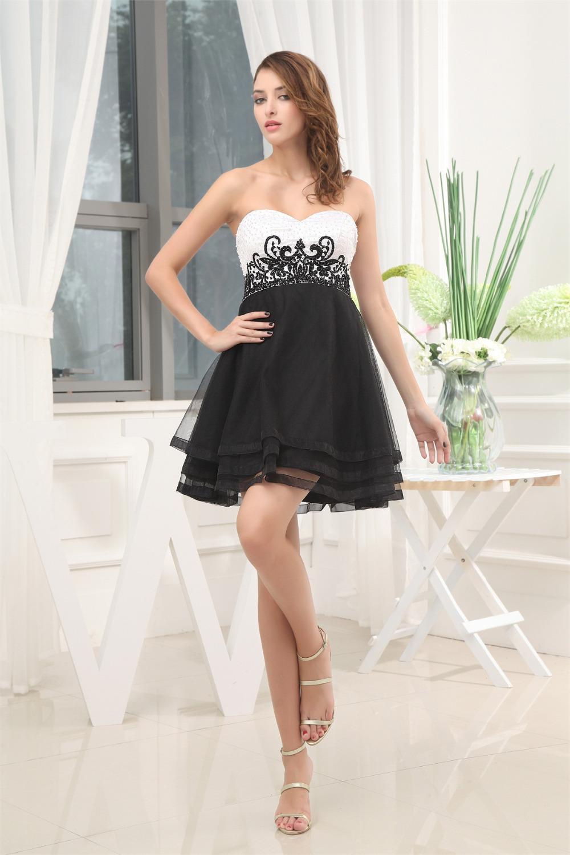 Short Black And White Prom Dresses