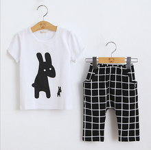 Girls Summer Casual Clothes Set Children Short Sleeve Cartoon T-shirt+7points pants Sport Suits 2016 Girl Boy Clothing Sets Kids