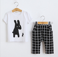 Girls Summer Casual Clothes Set Children Short Sleeve Cartoon T shirt 7points pants Sport Suits 2016
