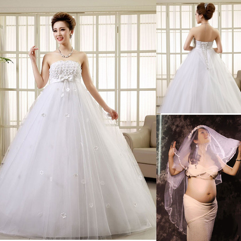 Popular Belicia Couture Maternity Wedding Dress Lace Appliques Short Sleeves Tulle Bridal Gown For ...