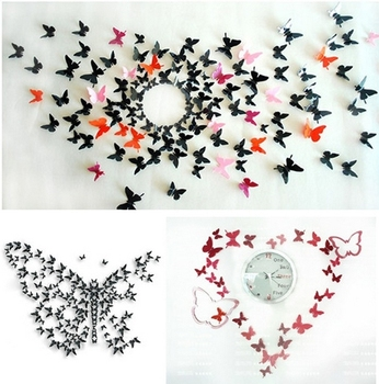 Fashion 3D Stereo 9 Colors Size 5.8cm Wall Stickers Living Room Decal Pop-up Butterfly Home Art 20PCS Wholesale, IQ0006