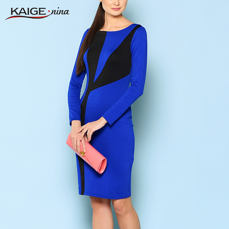 Kaige.Nina New Women's Fashion Contracted Splicing Style Long-sleeved No Decoration Tight Round Collar Knee-length Dress 1223(China (Mainland))