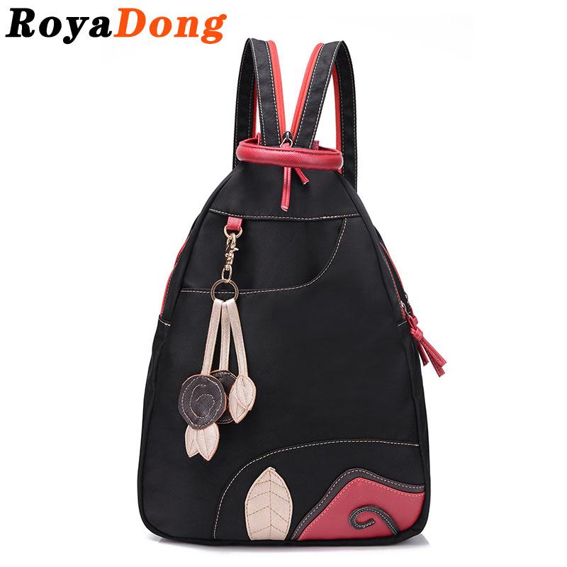 2016 RoyaDong Fashion Backpack Women Nylon And Leather Backpack Hollow Out Black Bag Floral Tassel Women Bag Sac A Main Bolsas(China (Mainland))