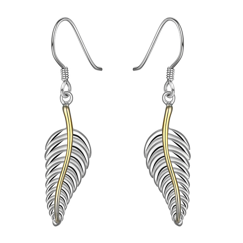 Trendy Vintage Accessories Boucle d'Oreille Feather Design Silver Plated Dangle Earrings Fashion Jewelry For Women Brinco QA0524(China (Mainland))