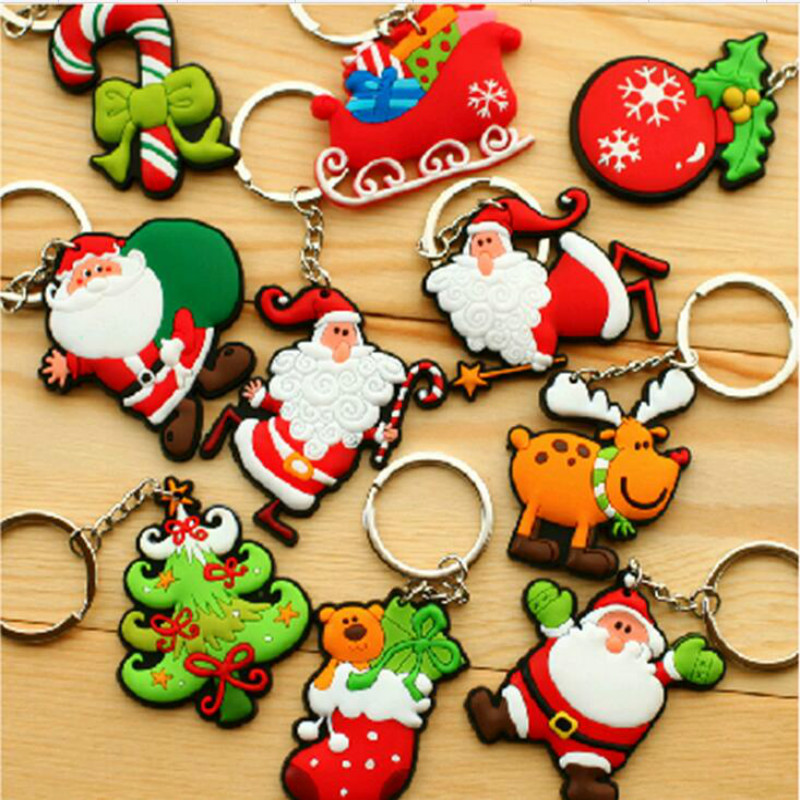 FREE SHIPPING Customize Minifigures Santa Claus Christmas Rubber Key Chain Key Ring Home Party Decor Christmas tree ornaments