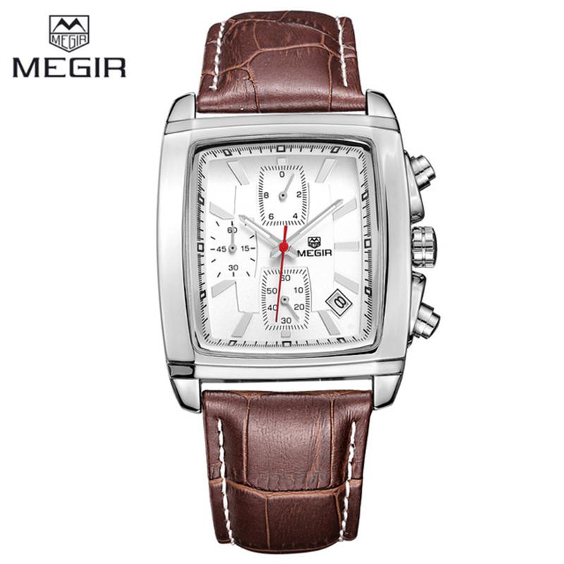 Megir Square Fashion Casual Military Chronograph Quartz Watch Men Luxury Waterproof Analog Leather Wrist Watch Man Quartz-watch(China (Mainland))