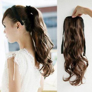 Black Womens Wave Curly Clip Hair Piece Ponytail Wig Hairpiece Synthetic Fiber Free Shipping<br><br>Aliexpress