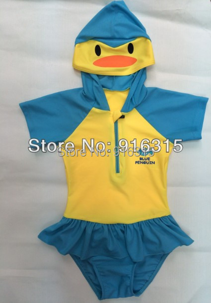 2014 Fashion Penguin Swimwear Girl Kids Swimming suits Children Bathing Suits one-pieces SW-003 - Jinbeili Factory Store store