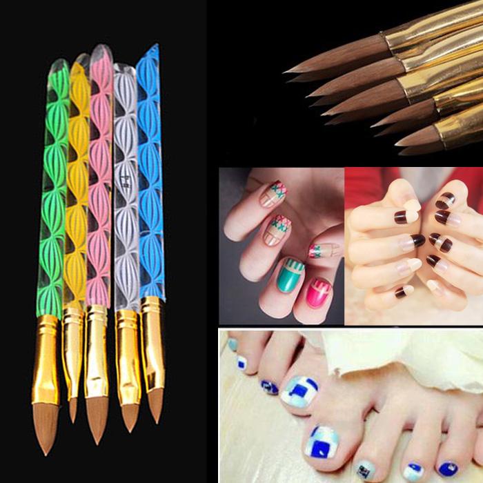 1Set=5Pcs 2-Ways Sable Brush Acrylic UV GEL Nail Art Builder Brush Liner Design for acrylic nail brushes set(China (Mainland))