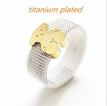 2015 Spain trend cartoon bear children ring new top quality mesh bear rings titanium unisex jewelry