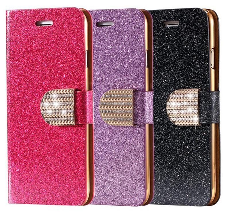 Wallet Cover Fashion Bling Glitter Diamond Flip PU Leather Case For iPhone 5S Case With Card Slots For iPhone 5 case(China (Mainland))