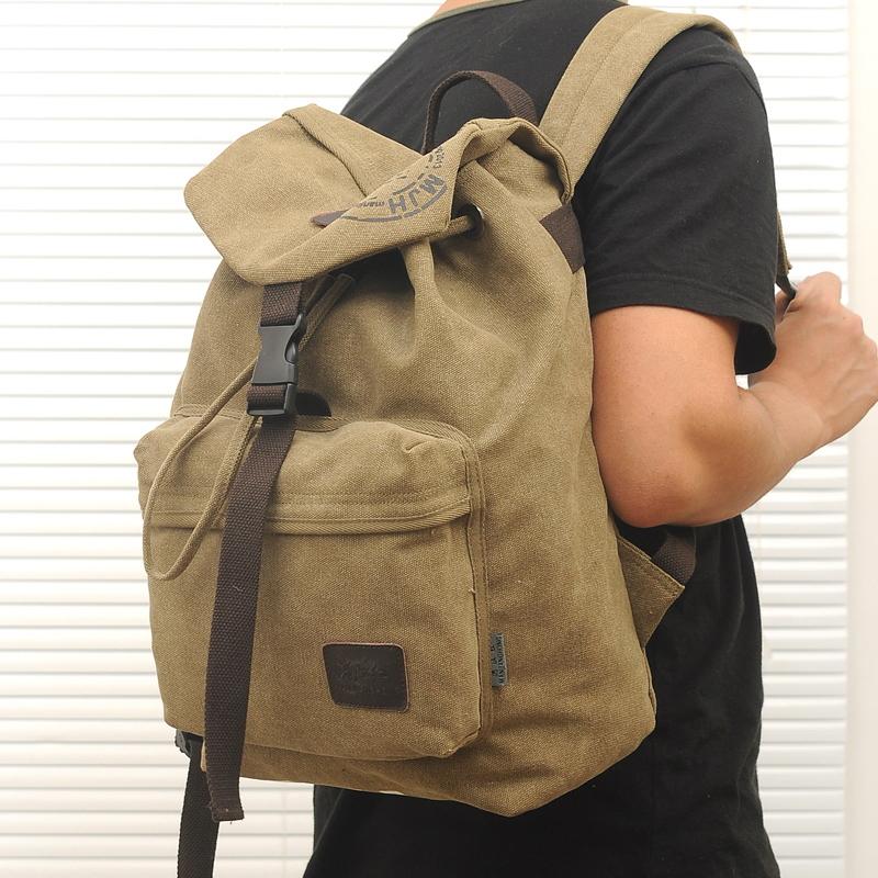 Vintage Canvas Travel Backpack Bag Women Men Outdoor Hiking Travel Backpack, Camping Camp Backpack Mountaineering Backpack
