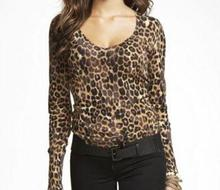 Europe and America original fashion v-neck leopard sexy slim long sleeve women pullover(China (Mainland))