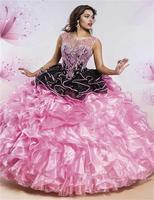 2016 Amazing Crystals Ball Gown Quinceanera Dresses Scoop Organza Pleat Floor-Length Vestidos De 15 Anos Sweet 16 Dresses