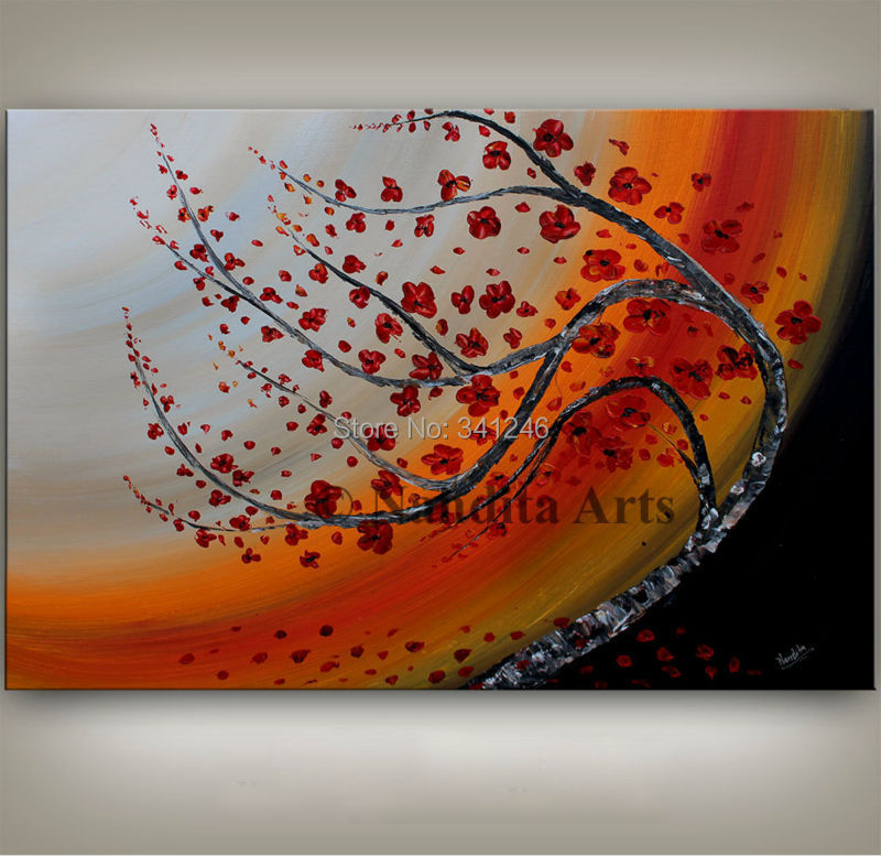 Buy NEW Hand-painted modern home decor wall art picture poppy red flower thick paint palette knife oil painting on canvas cheap