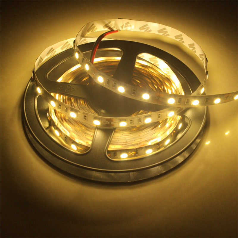 led strip 5050 60leds/m single chip White or Warm white LED light SMD led tape diode flexible ribbon only 5m strip(China (Mainland))
