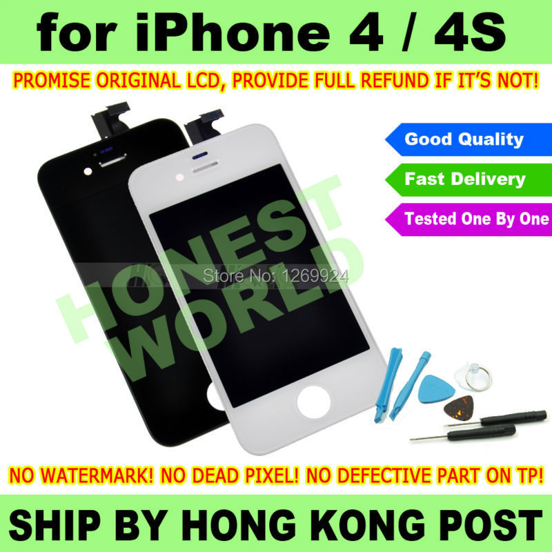 BLACK or White New Original LCD Display Touch Screen Digitizer For iPhone 4 4G 4S Replacement NO DEAD PIXEL + Repair Tool Kit(China (Mainland))
