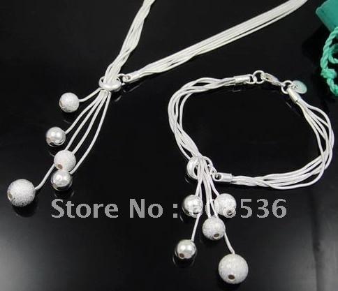 fashion jewelry, Silver plated Necklace & bracelet, jewelry,Brand New S24