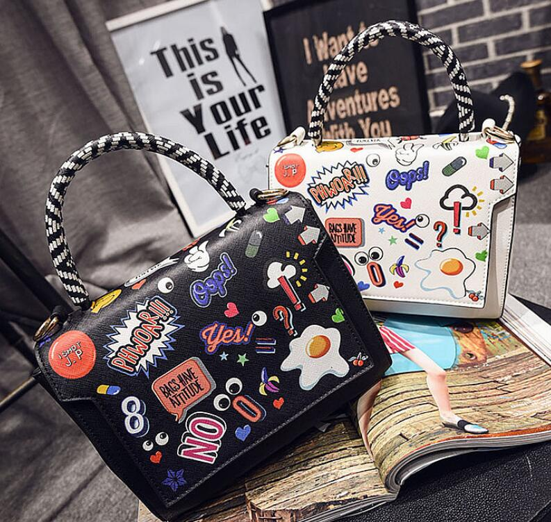 Hot 2016 Fashion Women Tote Bags Creative Graffiti Brand Quality Women Leather Handbags Cartoon Print Crossbody Bags CTT109(China (Mainland))