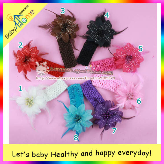 MAGNIFLCENT hairy style baby girls clip & headband, popular feather and multicolor boutigue baby hair item.