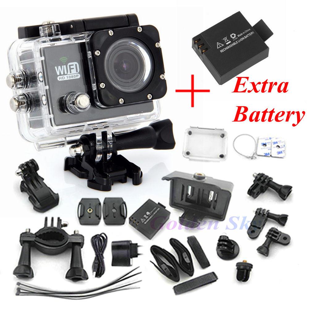 SJ6000 WIFI Action Camera 12MP Full HD 1080P 30FPS 2.0LCD Diving 30M Waterproof Sport DV sj6000 Camera Two Batteries + Monopod<br><br>Aliexpress