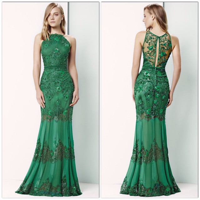 Latest Designs Prom Long fashion Dress elegant lady lace hollow out gown sexy emerald green mermaid dress vestido de festa longo(China (Mainland))